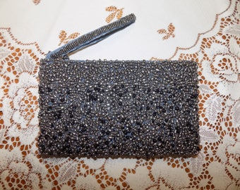 Vintage Gray Toned Beaded Clutch Bag Purse Like New See Scans Hand bags Purse