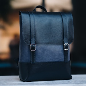 Backpack women minimalist Burgundy leather backpack women Laptop rucksack womens Birthday gift her handmade