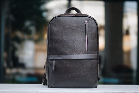 Mens Brown backpack Black Leather Laptop Backpack Genuine leather backpack for him Mens leather backpack Large Backpack Black