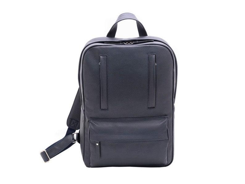 Backpack leather men for travel Dark blue backpack men shoulder Mens rucksack for laptop Backpack leather with zipper Gift for men leather