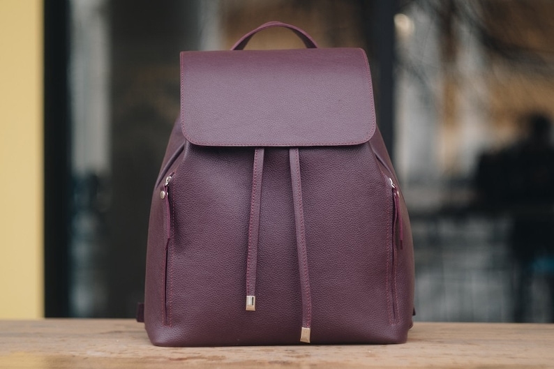 Leather pink city backpack Travel pink backpack Man leather backpack Laptop leathe backpack birthday gift