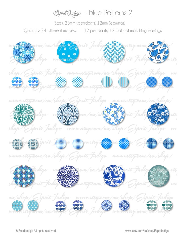 Digital Collage Sheet download Blue Patterns 2 Theme 30mm 25mm 14mm 12mm Round Images for cabochons jewelry making pendants earring