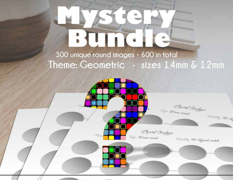 300 unique round Geometric images 14mm and 12mm for Cabochon Jewelry Making Scrapbooking Mystery Bundle of collage sheets to download
