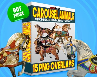 Carousel Animals Photoshop Graphic Design Overlay Bundle PNG Format