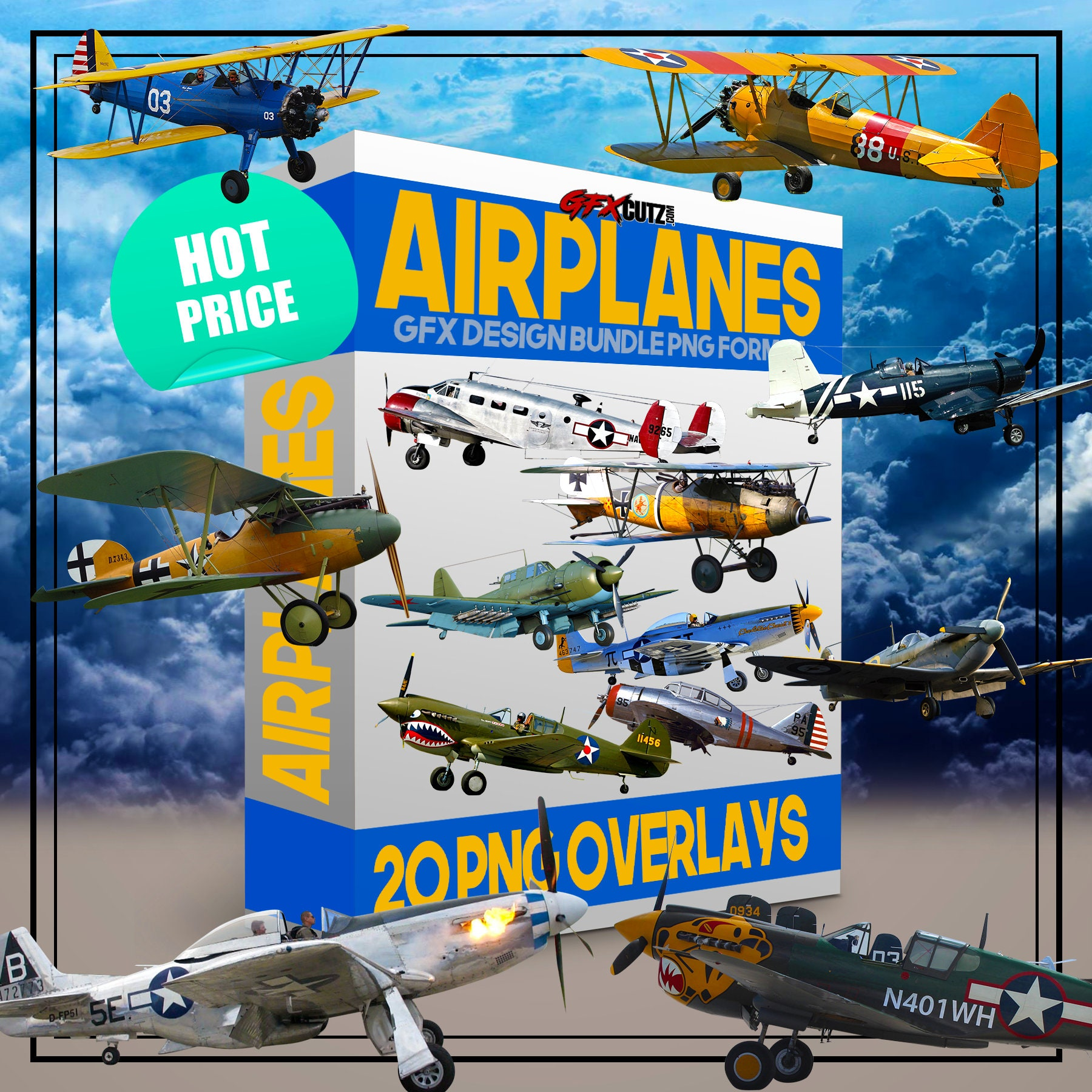 Airplanes 1 Photoshop Overlay Bundle In PNG Format (Jet