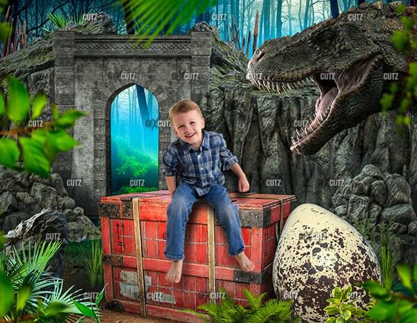 Dinosaur Backdrop / Digital Background / Photoshop Overlay