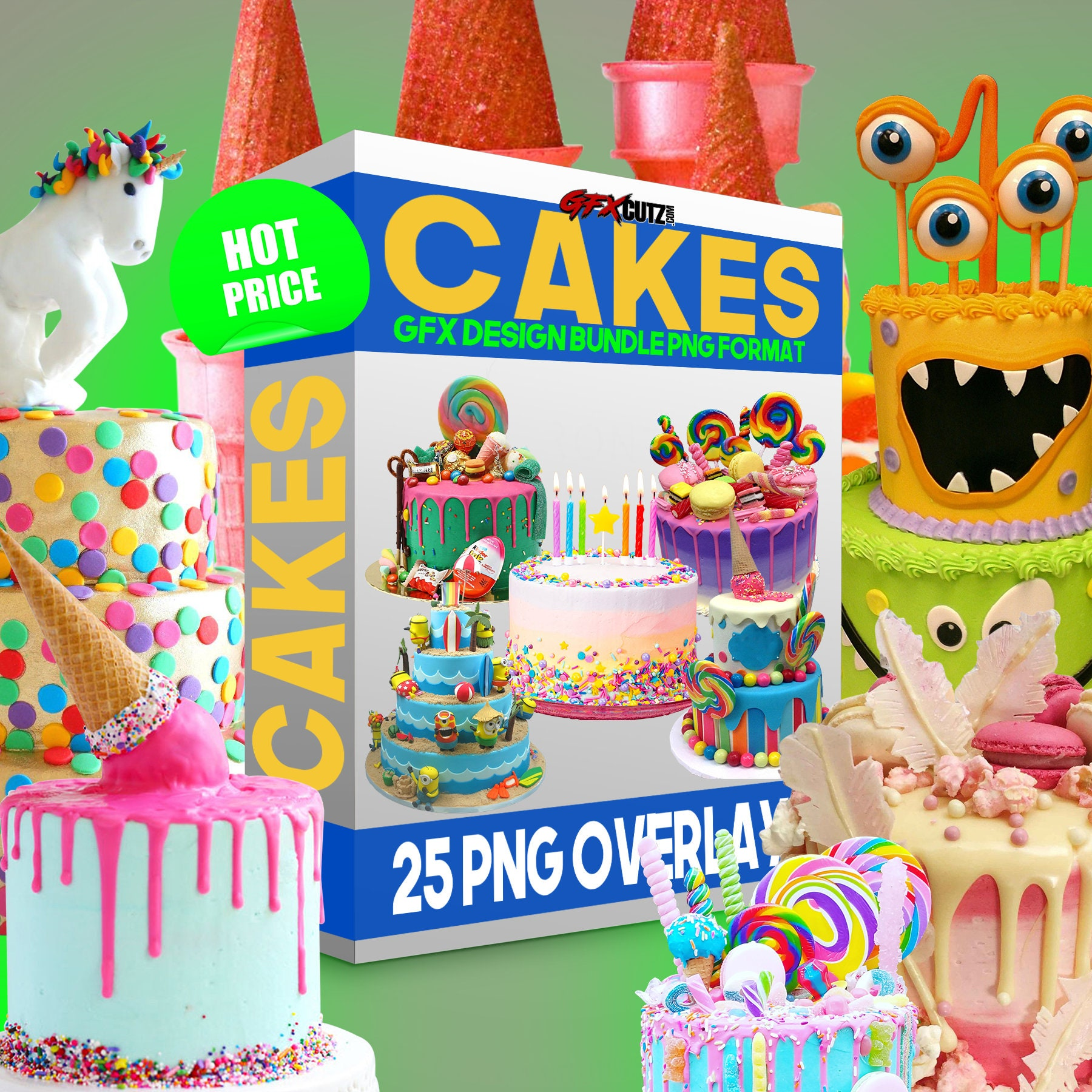 Cakes Photoshop Overlay Png Images Photography Prop Overlays Digital Download Clip Art Clipart Color Birthday Isolated