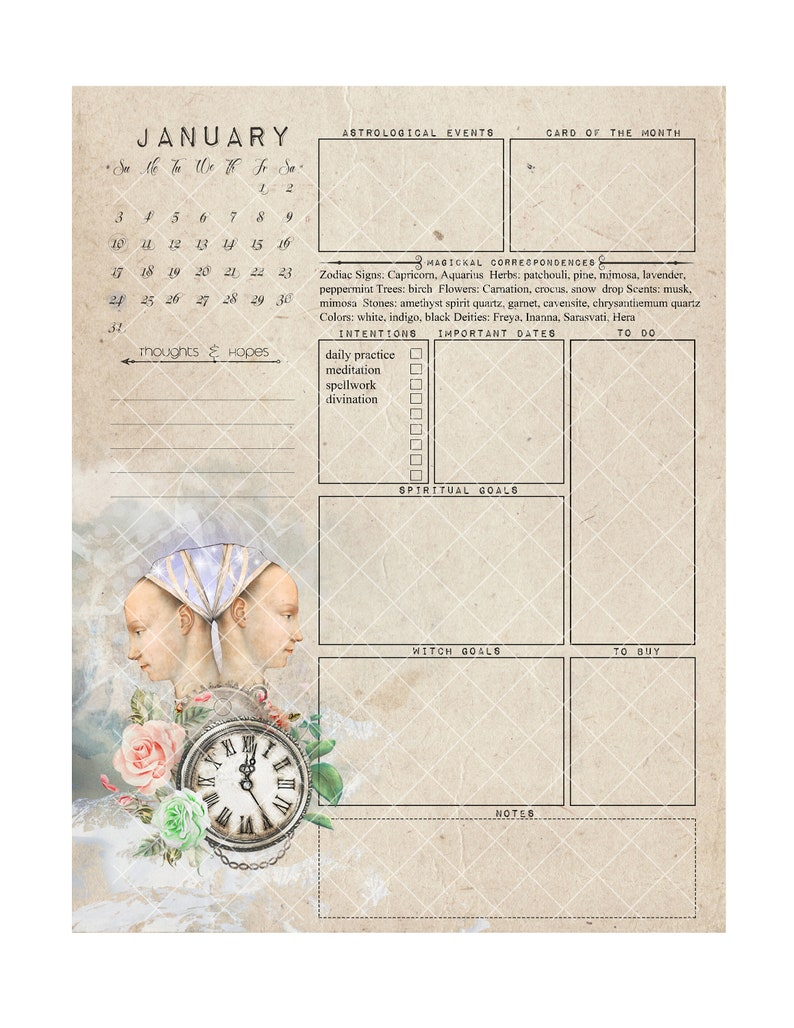 Witch Planner I 2021 printable witch calendar pagan | Etsy