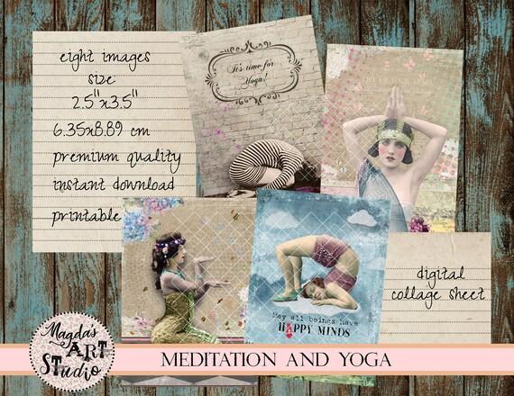 digital collage sheet vintage meditation ACEO printable vintage yoga instant download Yoga and Meditation ATC digital cards E31