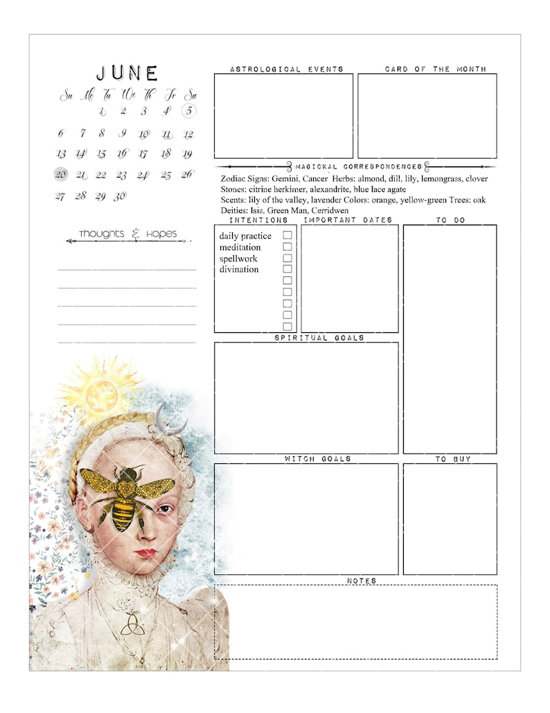 Witch Planner I 2021 printable witch calendar planner ten ...