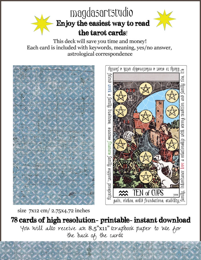 Tarot deck for beginners, tarot cards, oracle deck, divination cards,  printable, instant download