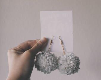 White and Black Speckled Pom Pom Earring