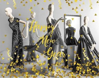 Christmas, New year vinyl Window Display Decals, Christmas Decor, Gold Silver, showcase decor, Seasonal Retail Decoration / Holiday Crafts