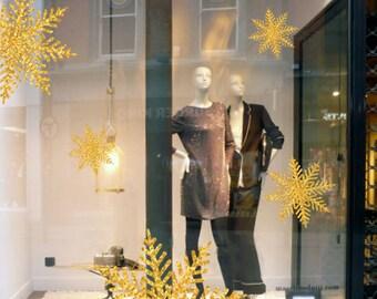 Golden snowflakes, Christmas, New year vinyl Window Display Decals, Seasonal Retail Decoration / Holiday Craft / storefront, showcase design