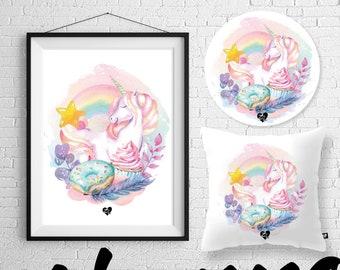 Unicorn (pillow/placemat/poster)