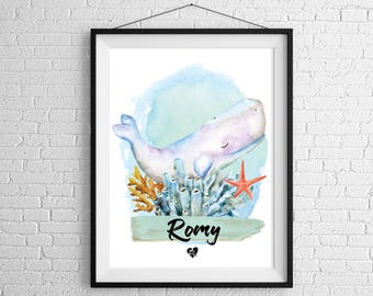 Personalized whale poster