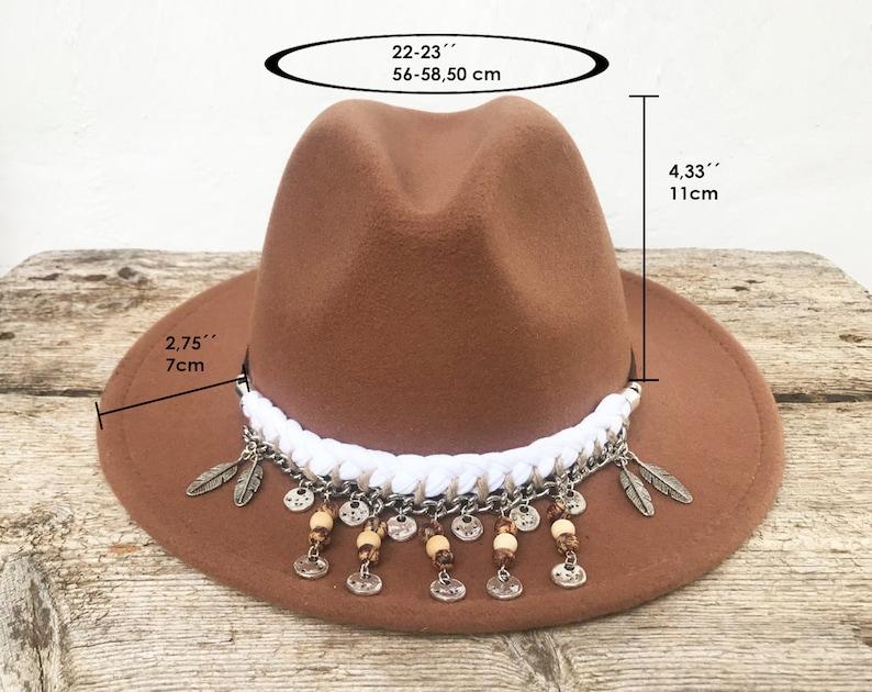 Boho hat with feathers Wool felt hat.