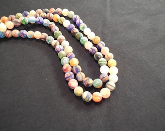6mm Multi colored Sea Glass beads