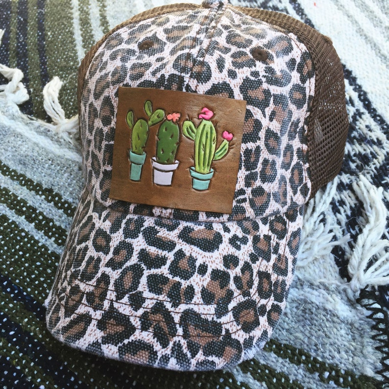 b655b2c4c91bf Cactus bloom tooled and painted leather patch cheetah trucker | Etsy
