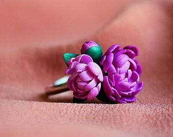 Peony ring, flower ring