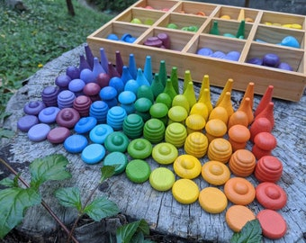 Large Set Full Rainbow Color Grapat Style Wooden Loose Parts Sensory Play Toys (168pc & 84pc Set available)