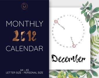 Monthly planner 2018, monthly calendar, year calendar 2018, printable planner, printable calendar, pdf, A4, letter size, A5, Personal size