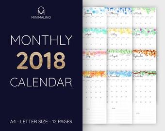 Monthly planner 2018, monthly calendar, year calendar 2018, printable planner, printable calendar, pdf, a4, letter size, illustration