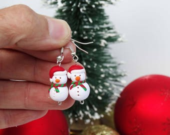Christmas Earrings,Snowmen Earrings,Christmas Gifts,Holiday Gifts,Christmas Jewelry,Kids Jeewelry,Christmas Decoration,Snowman,