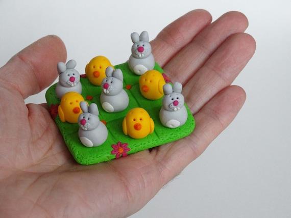 Jeu de Tic Tac Toe Pâques, idée de cadeau de Pâques, jeu de voyage, jeux Tic Tac Toe, cadeau de Pâques, jeux de lapin de Pâques, cadeau de Pâques pour les enfants