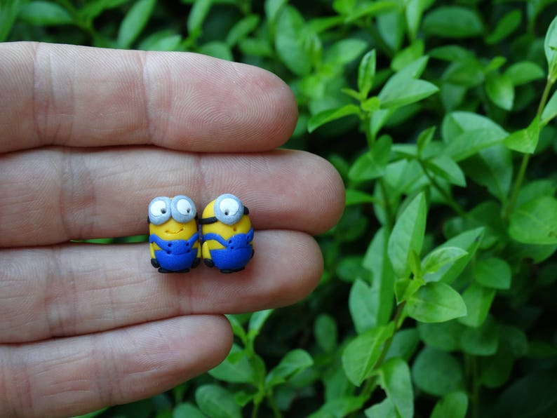 Polymer Clay Minion Earrings - Post Style