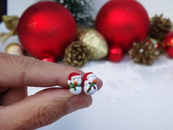Polymer Clay Christmas Earrings.Polymer Clay Snowmen Snowman Studs Winter Earrings Xmas Jewellery Snowmen Jewelry Snowman Earrings Christmas Theme Seasonal Jewellery