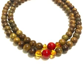 Bohemian Wood Beaded Necklace