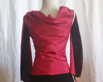 Red cowl neck shirt (size 10, 12)