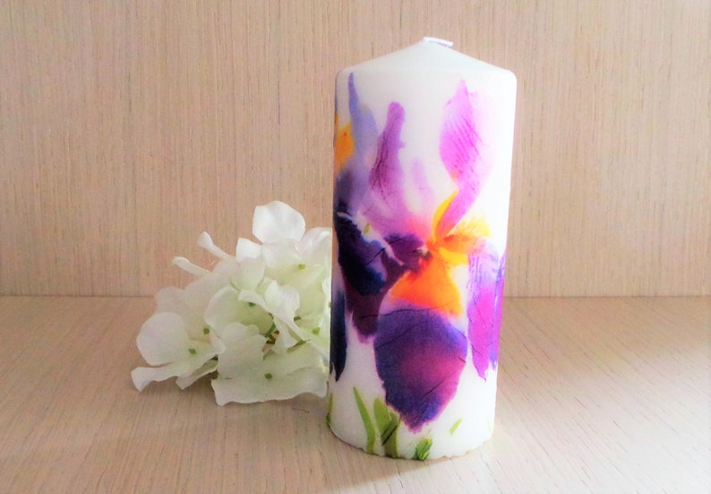 Purple And Yellow Iris Candle Floral Home Decor Gift