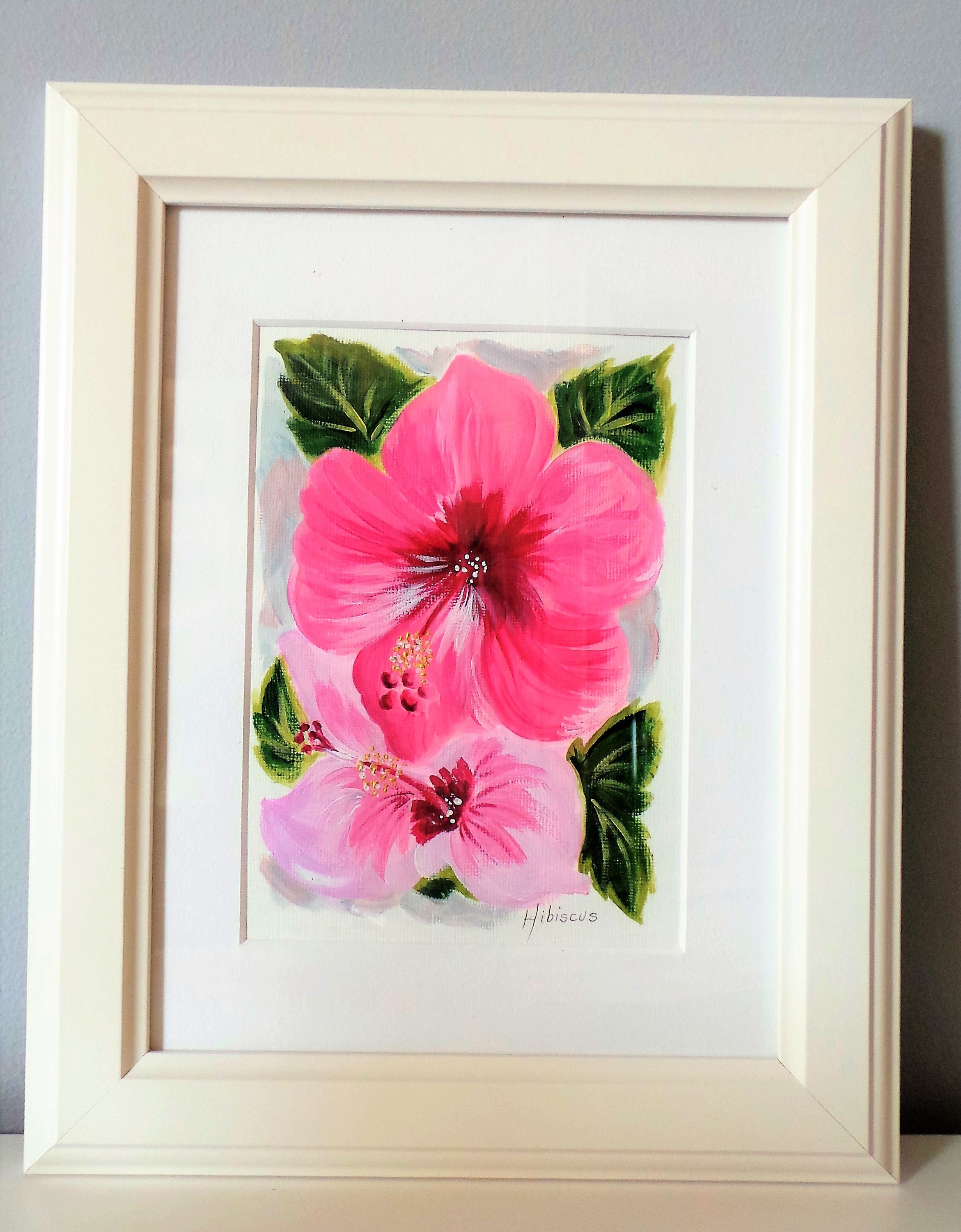Hibiscus floral abstract acrylic painting hibiscus art etsy hibiscus floral abstract acrylic painting hibiscus art small hibiscus painting floral wall art pink flowers flower lovers art izmirmasajfo
