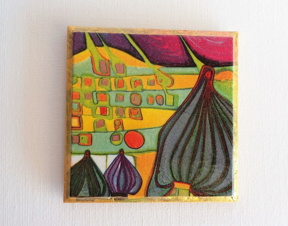 Hundertwasser coasters, Set of 4 decorative drink mats, artists gift,  abstract decor, Decoupage gifts, office desk gift, art gift, eclectic