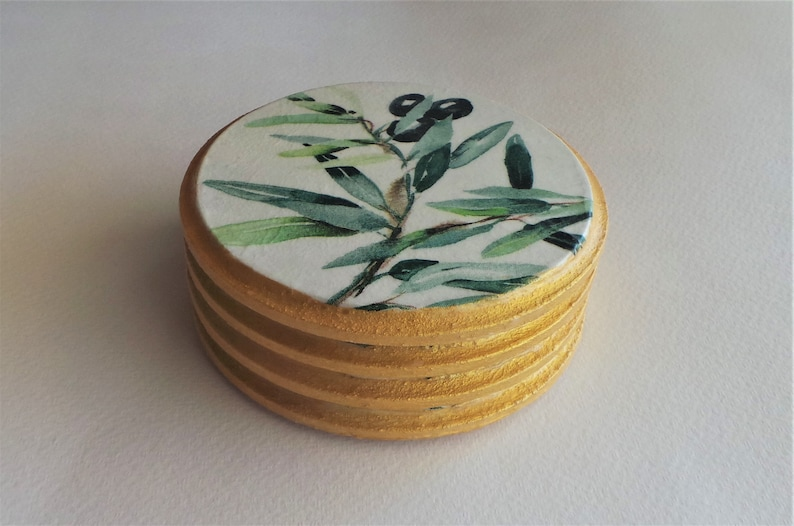 set of four drink mats handmade gifts Olive coasters table decor