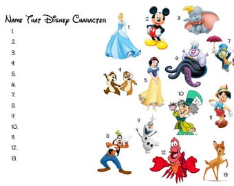 Printable Baby Shower Game - Name that Disney Character Game - Instant Download