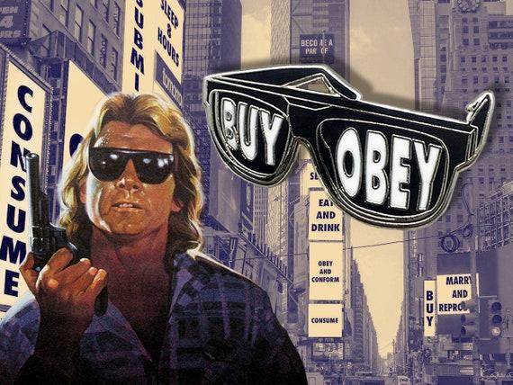 They Live Horror Enamel Pin Sunglasses | John Carpenter Movie | Retro 80s Film | OBEY AND BUY | Lapel Pin | Denim Jacket Gift