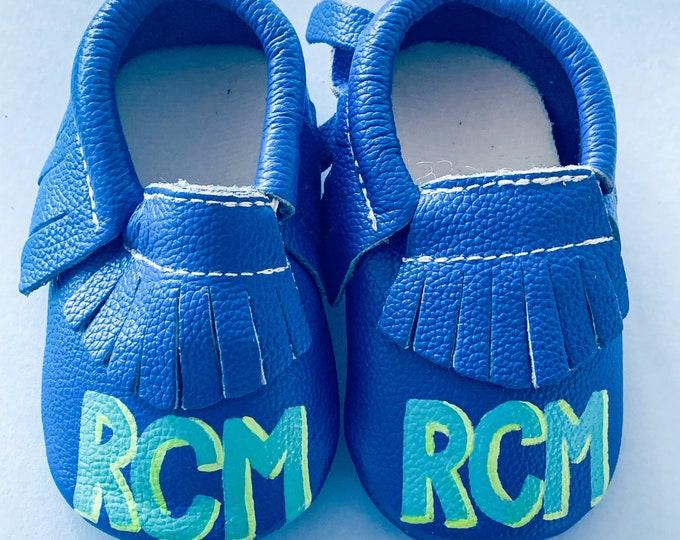 Block Letter  Monogram Baby Moccasins