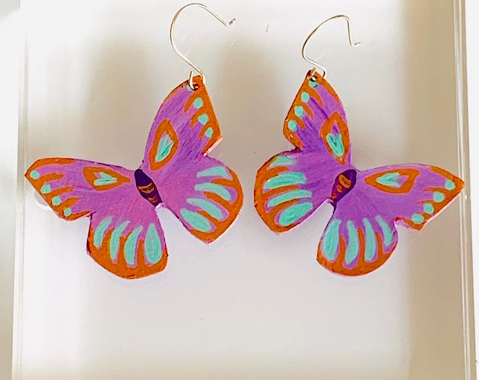 Leather Butterfly Earrings in Orchid