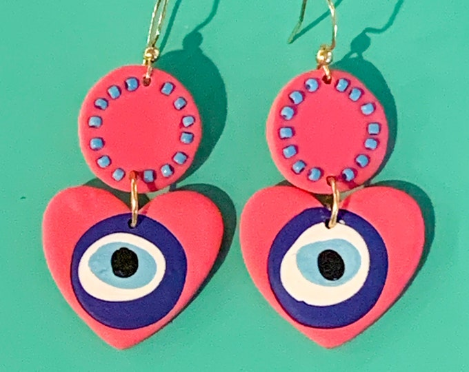 Pink Beaded Evil Eye Heart Earring