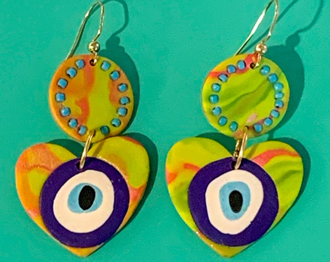 Lisa Frank Inspired Neon Evil Eye Heart Earring