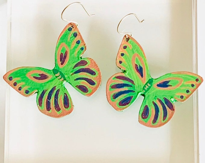 Leather Butterfly Earrings in Kiwi