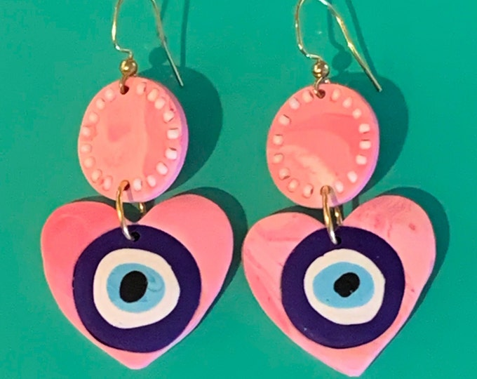 Marbled Pink Beaded Evil Eye Heart Earring