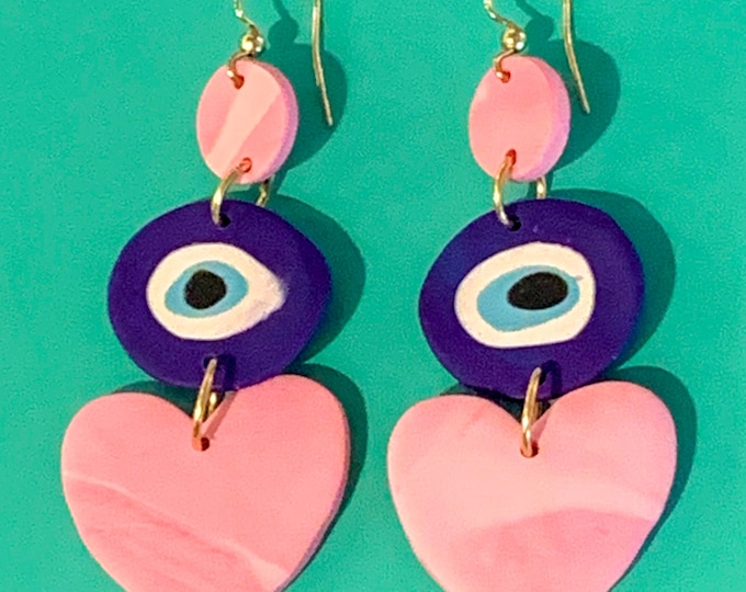 Marbled Pink Evil Eye Heart Earring