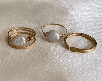 Mother of Pearl 14K Gold Filled Non Tarnish Ring // Jewelry // Minimalist Pearl Ring // classic simple thin gold ring