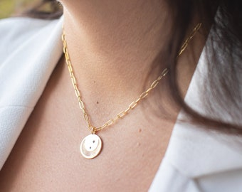 Chunky Chain Star Pendant Necklace / 14K Gold Fill Star Necklace / Paperclip Chain Necklace / Non-Tarnish Necklace