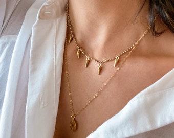Dainty Gold Spike Chain Choker, Layering Chocker, Boho Gold Choker Necklace, Statement Choker Necklace