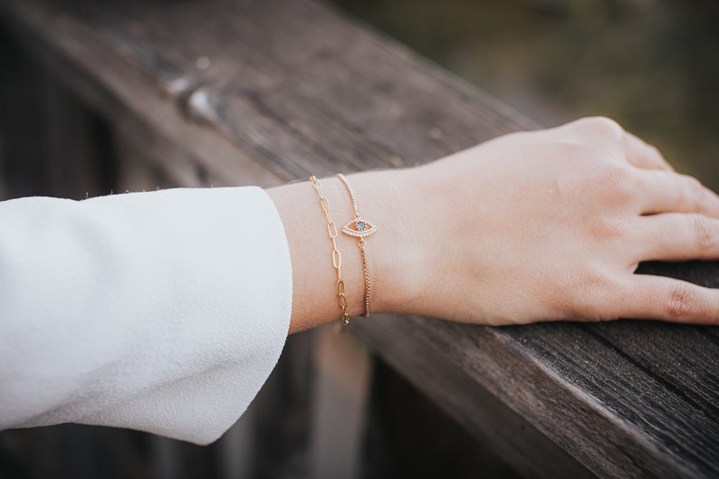Gold Paperclip Non Tarnish Bracelet  14k Gold Fill  Dainty Gold Christmas Gift for Her  Rainbow Pendant Jewelry